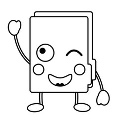 Folder document kawaii cute cartoon vector