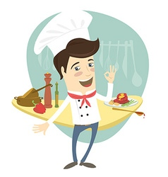 Funny chef standing in the kitchen showing ok-sign vector