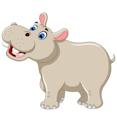 funny hippo cartoon smiling vector image