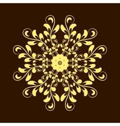 Hand drawn gold flower mandala over dark brown vector