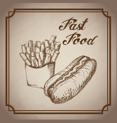 Hand drawn hot dog french fries fast food products vector