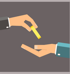 Hand giving gold coin to another hand flat vector