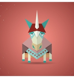 Magic cute origami unicorn from folded paper vector