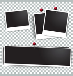 Photo polaroid frames on wall attached with pins vector image