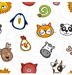 seamless pattern of hand drawn doodle animals vector image vector image