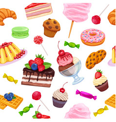 Seamless pattern with confectionery and sweets vector