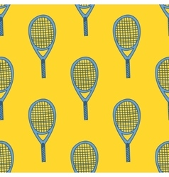 Seamless pattern with hand drawn tennis racket vector image