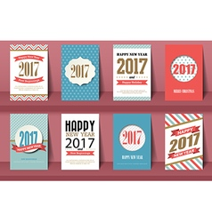 Set of happy new year and merry christmas brochure vector