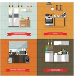 Set of kitchen interiors with refrigerator vector