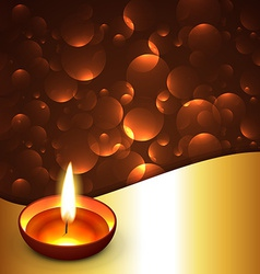 Shiny diwali diya background vector