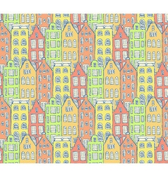 Sketch Amsterdam houses in vintage style vector image vector image