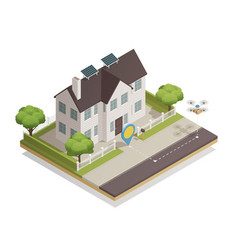 smart city townhouse isometric composition vector image vector image