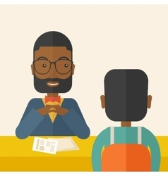 Smiling black human resource manager interviewed vector image