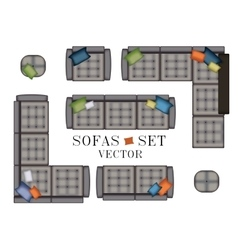 Sofas armchair set top view furniture with vector