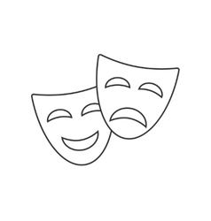 Theatrical masks line icon vector image vector image