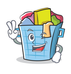 Two finger laundry basket character cartoon vector