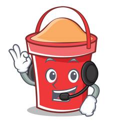 with headphone bucket character cartoon style vector image