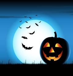 Grinning pumpkin with bats on blue backgound vector
