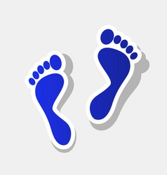 Foot prints sign  new year bluish icon vector