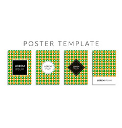 poster set with green-orange color circle pattern vector image