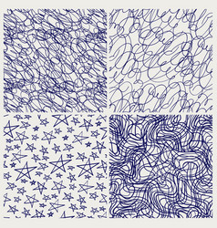 Pen sketched seamless texture set vector