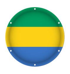 Round metallic flag of gabon with screw holes vector