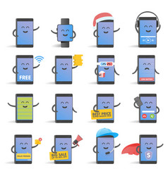 Happy cartoon smart phone character set great for vector
