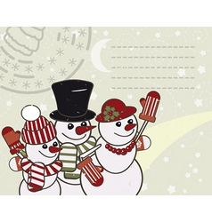 Retro christmas card with the snowmen family vector