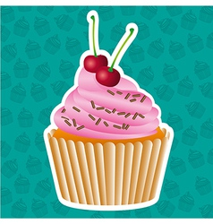 sticker cupcake on cupcakes pattern background vector image