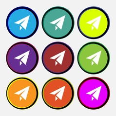 Paper airplane icon sign nine multi colored round vector