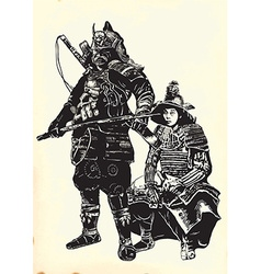 An hand drawn from japan culture - samurais vector