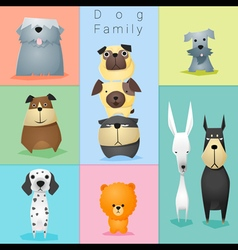 Set of dog family 3 vector