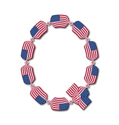 Letter q made of usa flags in form of candies vector