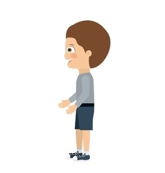Boy standing looking aside isolated icon design vector
