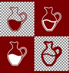 Amphora sign bordo and white icons and vector