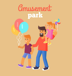 Amusement park father with children isolated vector
