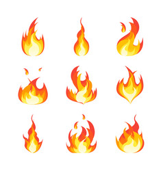 cartoon fire flames set vector image