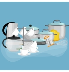 Cartoon kitchenware utensil collectionSteel vector image vector image