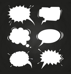 cartoon speech balloons collection on chalkboard vector image vector image