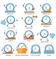 Clock character daily routine timetable vector
