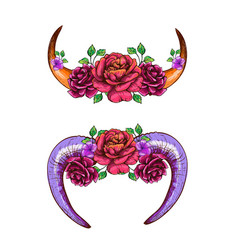 Cow horns and sheep decorated with flowers vector