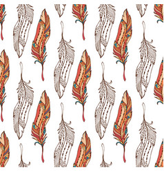 feathers seamless pattern in boho style ethnic vector image vector image