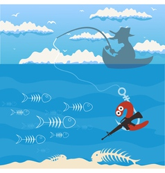 fishing cartoon vector image vector image