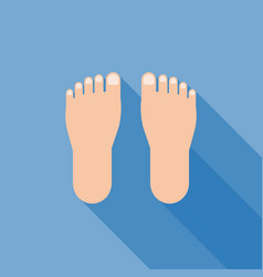 Foot sign icon with long shadow vector