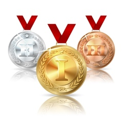 Golden silver and bronze medal with red vector