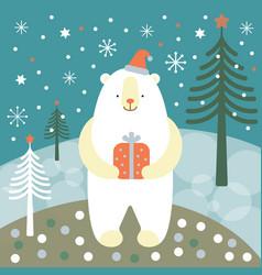 Greeting card christmas card with a polar bear vector