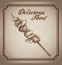 Hand drawn kebab delicious food sketch vintage vector