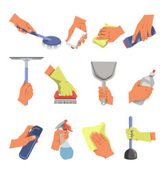 Hands holding different cleaning tools flat vector