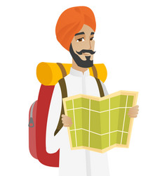 Hindu traveler with backpack looking at map vector