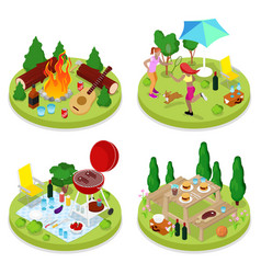 isometric bbq picnic party summer holiday camp vector image vector image